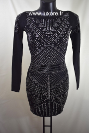 Robe pull à strass noire