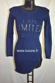 Robe pull bleue marine LIMITED EDITION à strass avec fermeture éclair